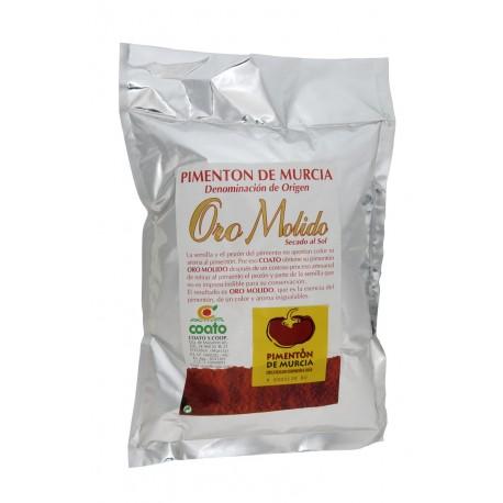 Pimenton desrabado d.o. Región de Murcia - Oro molido - Bolsa metalizada 1 kg